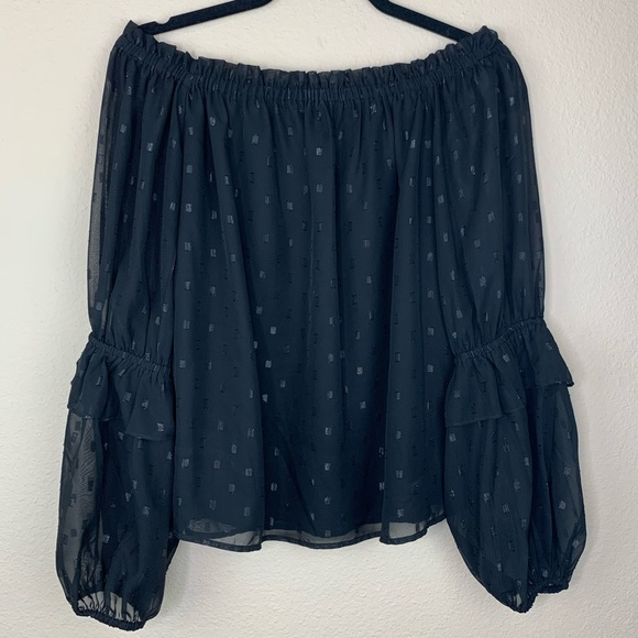 BEBE off shoulder top with metallic detail